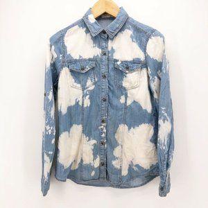 Life In Progress Womens Denim Shirt Blue Pockets M